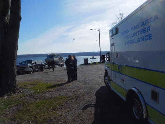 A New York State Police watercraft prepares to launch into Seneca Lake at Severne Point on Monday, April 20. A state police helicopter is overhead, and a Yates County Marine Patrol watercraft is already searching area waters looking for Daniel Manganano, of Horseheads.