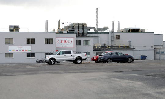 JBS Packerland beef plant is pictured on April 17, 2020, in Green Bay, Wis.