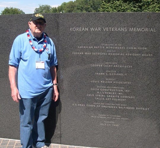 Korean War veteran Jerry Simonar visits the Korean War Veterans Memorial during an Old Glory Honor Flight to Washington, D.C., in 2014. The Luxemburg resident was scheduled to be on board another Honor Flight to Korea this spring before it was canceled because of coronavirus concerns in that country. Simonar died April 13 of complications from the virus.