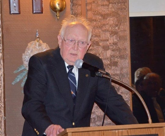 Jerry Simonar gives a speech while accepting his 2018 Person of the Year award from the Luxemburg Area Chamber of Commerce for his lifetime of developing businesses in Luxemburg and passion for local business. Simonar died April 13 at age 87, the first person in Kewaunee County to die of complications from COVID-19.