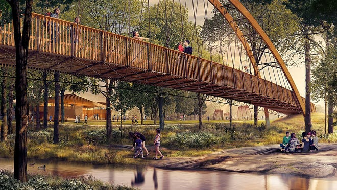 A pedestrian bridge will span the Reedy River in the new $20 million Unity Park west of downtown.