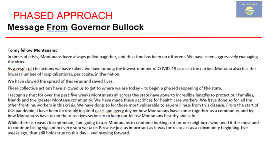 Gov. Steve Bullock on Wednesday unveiled a three-phased plan to reopen Montana.