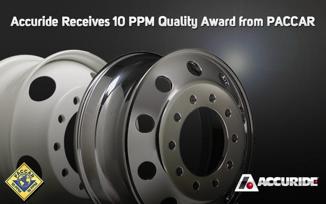 Accuride receives 10 PPM Quality Award from PACCAR