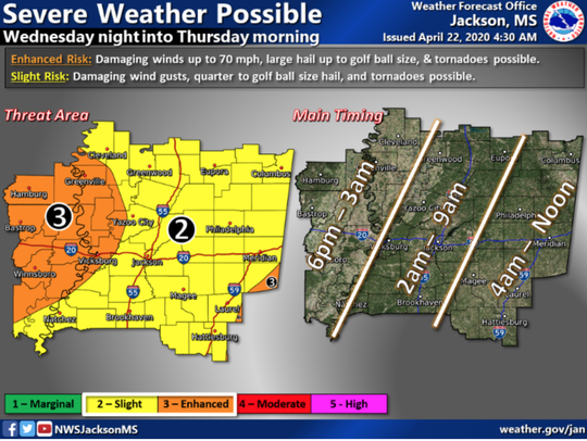 Severe thunderstorms and tornadoes are possible tonight into Thursday morning.