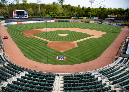 A freshly mowed and maintained baseball field is seen at the Smokies Stadium in Kodak, Tenn., on Wednesday, April 22, 2020.