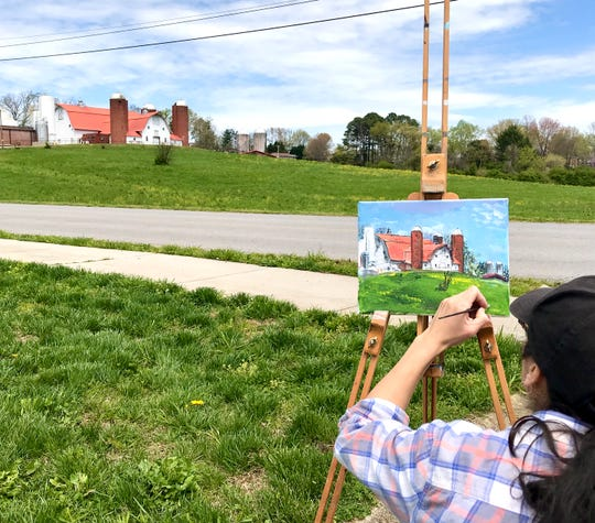 Sonia Summers spent an afternoon painting the landscape around Powell.