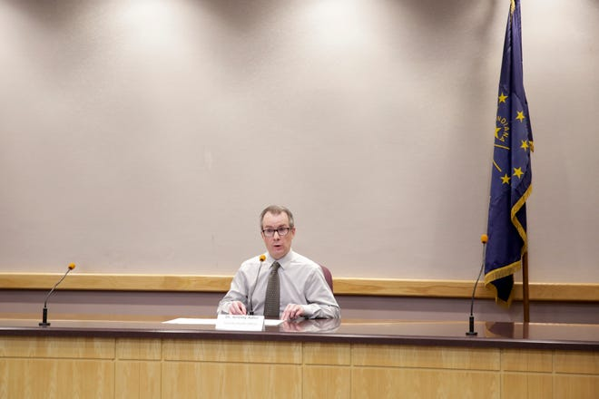 Dr. Jeremy Adler, Tippecanoe County's health officer, speaks during a press conference at the Tippecanoe County Office Building, Wednesday, April 22, 2020 in Lafayette.