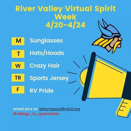 River Valley High School language arts teacher Ben Thompson organized a virtual spirit week for students this week.