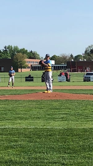Connor Wrentmore gets ready to pitch in a River Valley baseball game last season. Wrentmore is a senior at RV and baseball was the only sport he played.