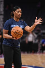 Former Memphis Grizzlies assistant coach Niele Ivey before the game against the Detroit Pistons at Little Caesars Arena.