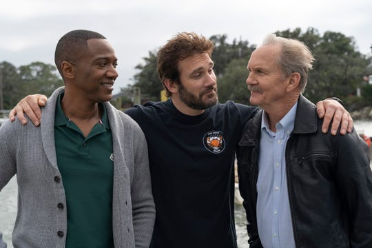 "From left on ""Council of Dads"" is  J. August Richards as Dr. Oliver Post, Clive Standen as Anthony Lavelle, Michael O'Neill as Larry Mills."