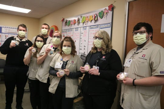Ball Memorial Hospital staff with the cookies Hannah Clark donated to every member of the staff.