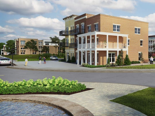 This rendering shows the live-work townhomes Regent Homes is bringing to Tollgate Village.