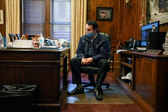Paterson Mayor Andre Sayegh returns to work at City Hall for the first time since recovering from Covid-19, Sayegh quarantined in his Paterson home for two weeks and tested negative for the coronavirus prior to returning to work on April 22, 2020.