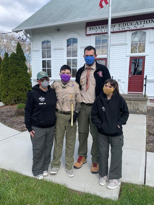 Boy Scout Troop 60, along with Crew 53, gathered with Fair Lawn parents, Gerry's colleagues from Buildings and Grounds, and the Fair Lawn Police Department to pay their respects