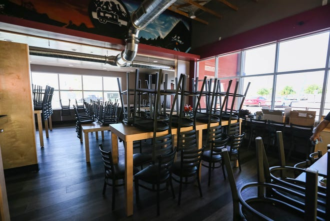 The newly renovated seating area of Taqueria Chavez sits empty on Wednesday, April 22, 2020 after restaurant lobbies were closed due to coronavirus concerns in Las Cruces.