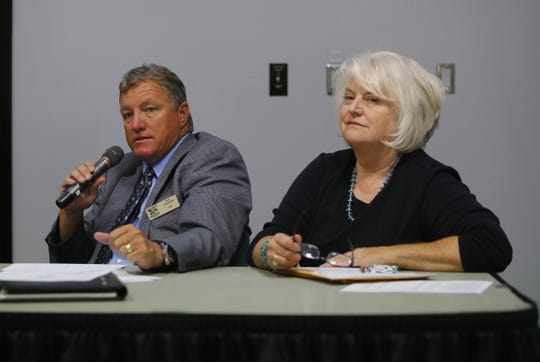 Former San Juan County Commissioner Margaret McDaniel, right, and former San Juan County Executive Officer Kim Carpenter talk about the county budget at meeting on Sept. 6, 2016 at San Juan College in Farmington. McDaniel died on April 21, 2020.