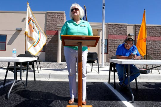 Former San Juan County Commissioner Margaret McDaniel speaks on Aug. 5, 2015 during the grand opening for an administrative service center at the Navajo Nation police substation in Dzilth-Na-O-Dith-Hle. McDaniel died on April 21, 2020.