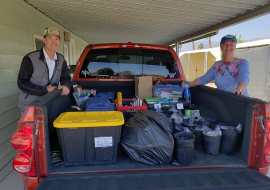 Mike and Kennedy Rocker drove multiple truck loads across the Coachella Valley to Dove's Landing families' homes. They delivered not only academic supplies but also fun gifts. They believe that staying connected with long distance hugs is just as important as the supplies.