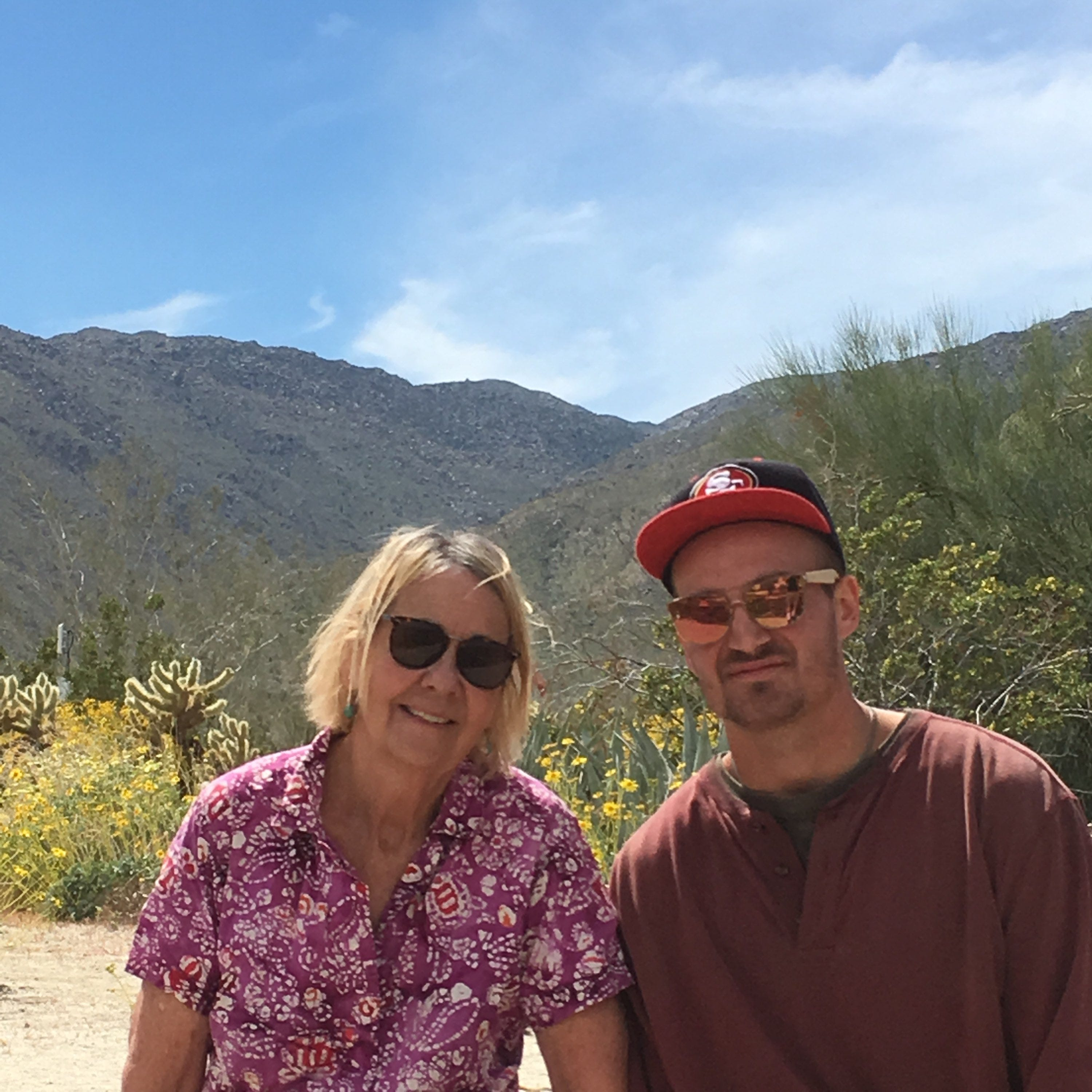 Cheryl Fullerton and her son, Tyler Fullerton, during a family trip to Anza-Borrego Desert State Park in 2019.