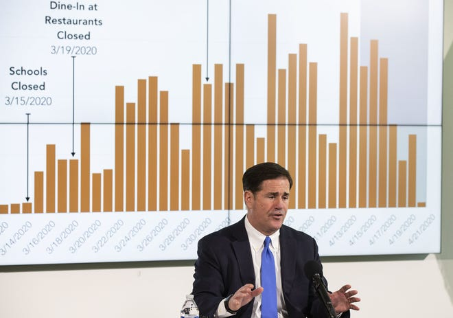 Arizona Gov. Doug Ducey gives an update on the COVID-19 pandemic response during a press conference at the Arizona Commerce Authority in Phoenix on April 22, 2020.