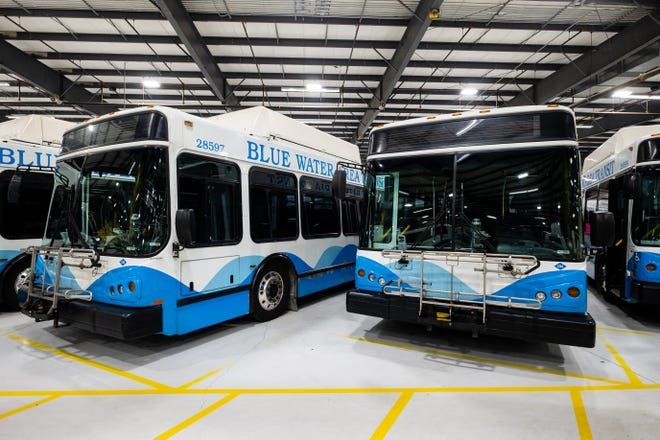 Blue Water Area Transit buses are seen parked at the depot Wednesday, April 22, 2020, in Port Huron. Description:Port Huron and Fort Gratiot have tax renewals of 0.6173 mills on the ballot for Blue Water Area Transit bus services May 5.