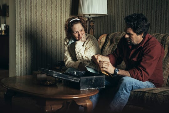 "Ulster County resident and Oscar winner Melissa Leo and Mark Ruffalo sit inside their home in a scene from HBO's ""I Know This Much Is True."""