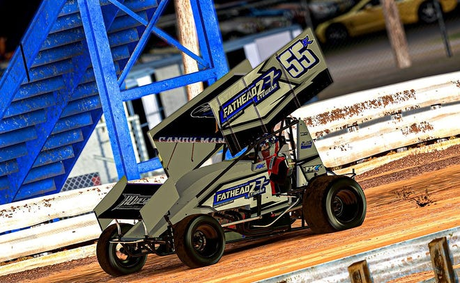Robbie Kendall races during the virtual running of the World of Outlaws Sprint Car iRacing Invitational at Williams Grove Speedway. Kendall won the event held on Tuesday and the $1,000 prize.