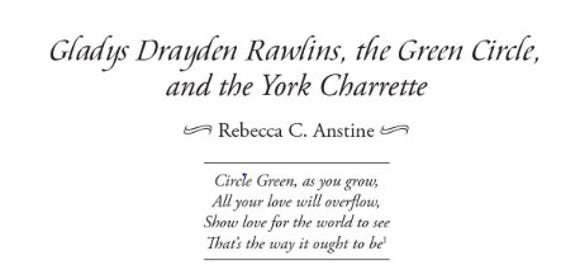 Gladys Rawlins teamed with York City School Superintendent Dr. Charles Walters to forge Green Circle ideas in the troubled city school district in the key years of 1969 through 1971. Rebecca C. Anstine wrote about their work in the 2019 Journal of York County Heritage, published by the York County History Center.
