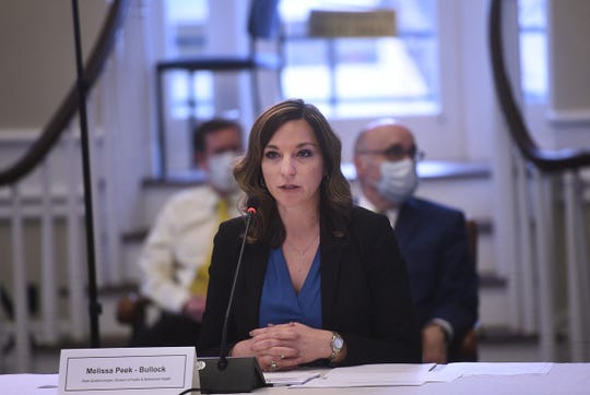 Nevada State Epidemiologist Melissa Peek-Bullock speaks during a press conference in the Nevada State Capital Building in Carson City with regards to the COVID-19 crisis on April 21, 2020.