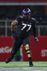 TCU's Lucas Niang could be a developmental offensive tackle for the Bills who could eventually become a starter.