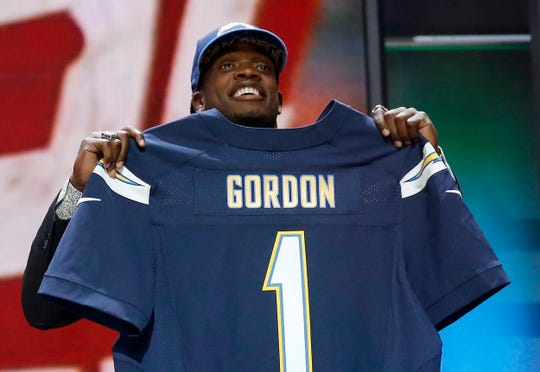 Wisconsin running back Melvin Gordon poses for photos after being selected by the San Diego Chargers as the 15th pick in the first round of the 2015 NFL Draft,  Thursday, April 30, 2015, in Chicago. Could Gordon have landed in Buffalo if the Bills didn't trade for Sammy Watkins the year before?