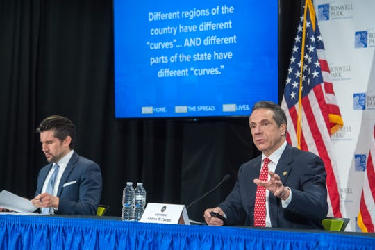 Gov. Andrew Cuomo discussed how to reopen the upstate economy due to coronavirus during a briefing in Buffalo on Tuesday, April 21, 2020.