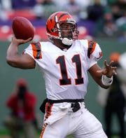 Bengal QB Akili Smith during the Dec. 16, 2001, game between the Cinncinati Bengals and New York Jets at Giants Stadium, East Rutherford NJ. (Peter Carr / The Journal News)