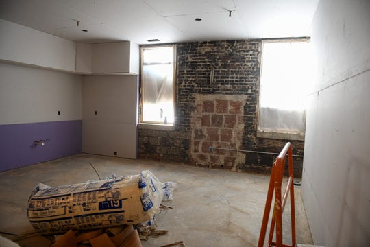 Future third-floor apartment rooms begin to take shape in the Powell Building, continuing its renovations in downtown Salisbury, Maryland, on April 22, 2020. The building was an historic icon for the downtown after opening as a Montgomery Ward in 1938 — but as retail moved out of the space over time, a new future of 20 apartments full of raw details lies in store.