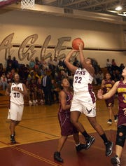 Washington High at Snow Hill girls basketball Friday January 7. Sn Hill's Shecquan Bailey goes up for the shot. Photo- Eric Doerzbach.