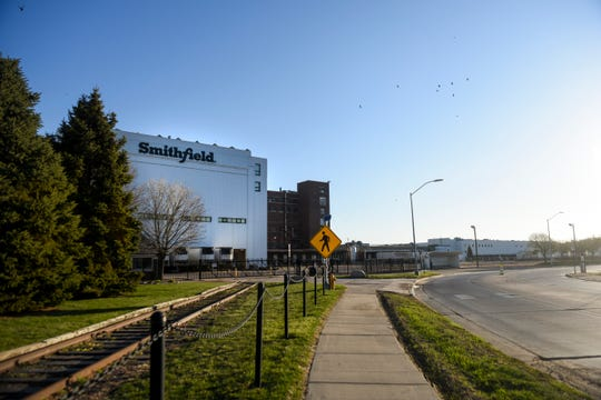 Smithfield is seen on Wednesday, April 22, 2020 on in Sioux Falls, S.D. The meatpacking plant is one of the nation's largest hot spots for COVID-19.