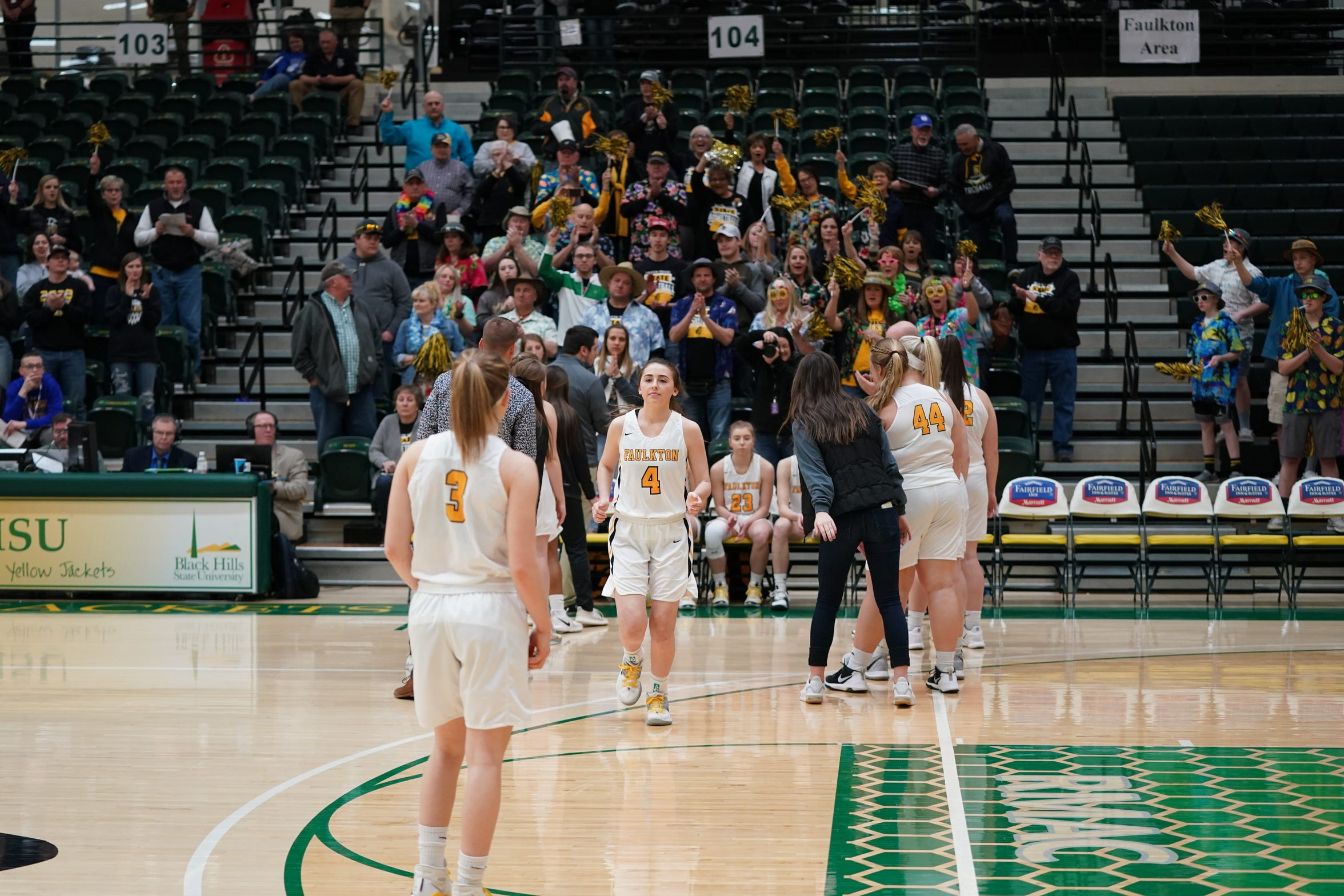 Faulkton Area girls are introduced during the Class B state tournament.