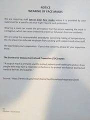 Pensacola Care Inc. letter to staff instructing them on use of masks, issued prior to resident or staff testing positive for the coronavirus.