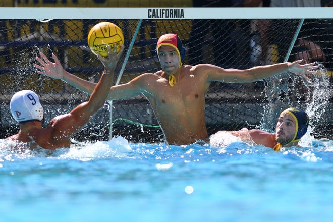 Oaks Christian graduate Adrian Weinberg guards the net during Cal's game against Pepperdine on Oct. 12, 2019. Weinberghad 217 saves over 22 starts and was named an honorable mention All-American in his freshman season at Berkeley.