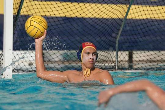 Goalie Adrian Weinberg looks for a teammate during Cal's game against USC on Nov. 16, 2019. After a standout freshman season at Cal, the Oaks Christian School graduate could be a candidate for the Olympic team in the near future.