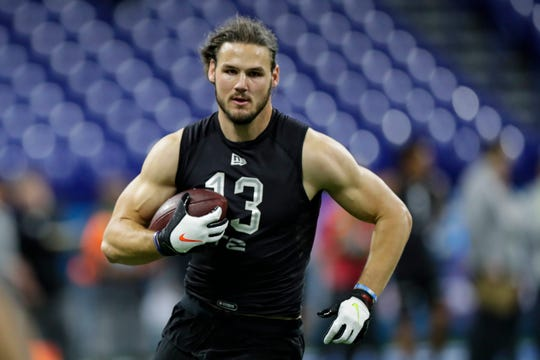 Colby Parkinson runs a drill at the NFL Combine in Indianapolis on Feb. 27. The former Oaks Christian star is expected to be the latest tight end from Stanford to be picked in the NFL Draft.