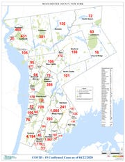 A map showing the number of confirmed cases of the coronavirus in Westchester County as of April 22, 2020.