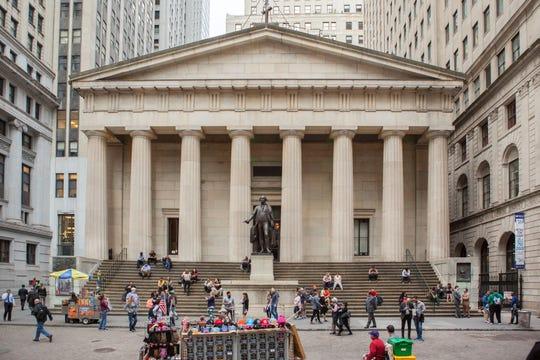 """Scenes from """"Batman"""" filmed on Wall Street."""