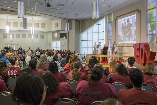 Patricia Beebe, former president and CEO of the Food Bank of Delaware, speaks at the TEDx Wilmington Salon event held at the Baylor Women's Correctional Institution in 2015.