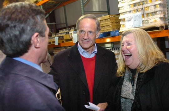 Then-U.S. Rep. John Carney is greeted by Sen. Tom Carper and Patricia Beebe in Milford in 210. .