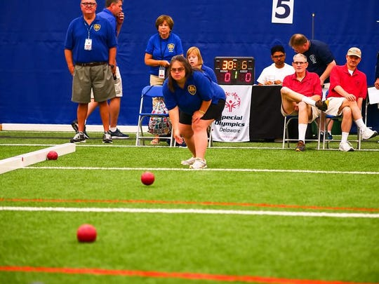 Bocce player Laura Scott, 36, a member of the MOT Tigers, competes in the 2019 Special Olympics Delaware Summer Games.