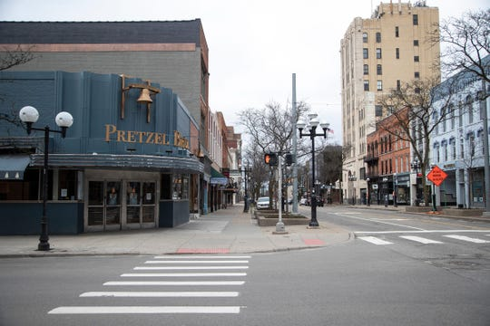 Downtown Ann Arbor East Liberty Street at South Main Street on March 20, 2020.