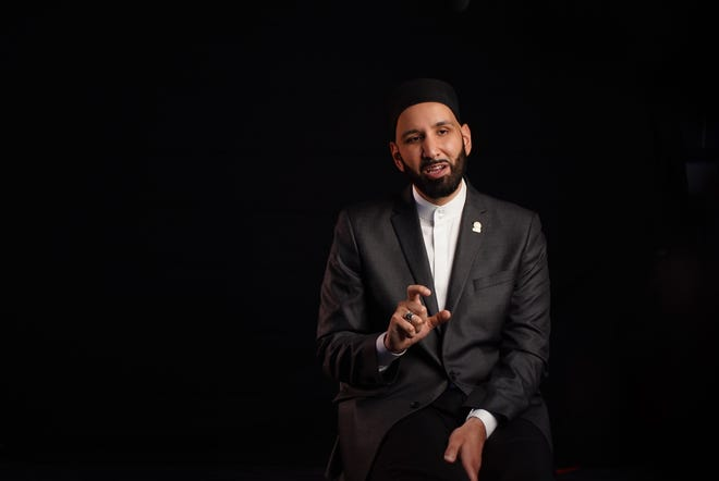 Omar Suleiman, founder and president of the Yaqeen Institute, records a segment for an online lecture.