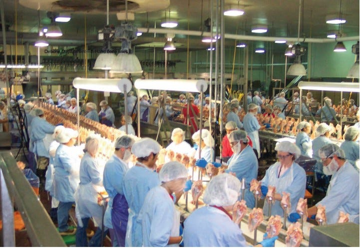 Workers stand close together on a poultry processing line as shown in this photo from a U.S. Government Accountability Office report.
